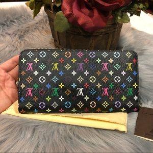 New Louis Vuitton Mc multicolor black zippy wallet